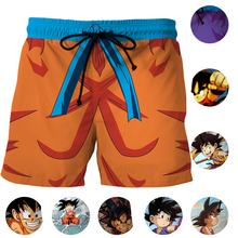 Kid Son Goku Men Short Pants Breathable Cosplay Dragon Ball Youth Son Goku Surf Beach Shorts Summer Trunks Swimwears Quick Dry