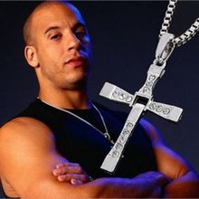 New Gift Cool Famous Movie The Fast And Furious Silver Rhinestone Cross Pendant Necklace For Man