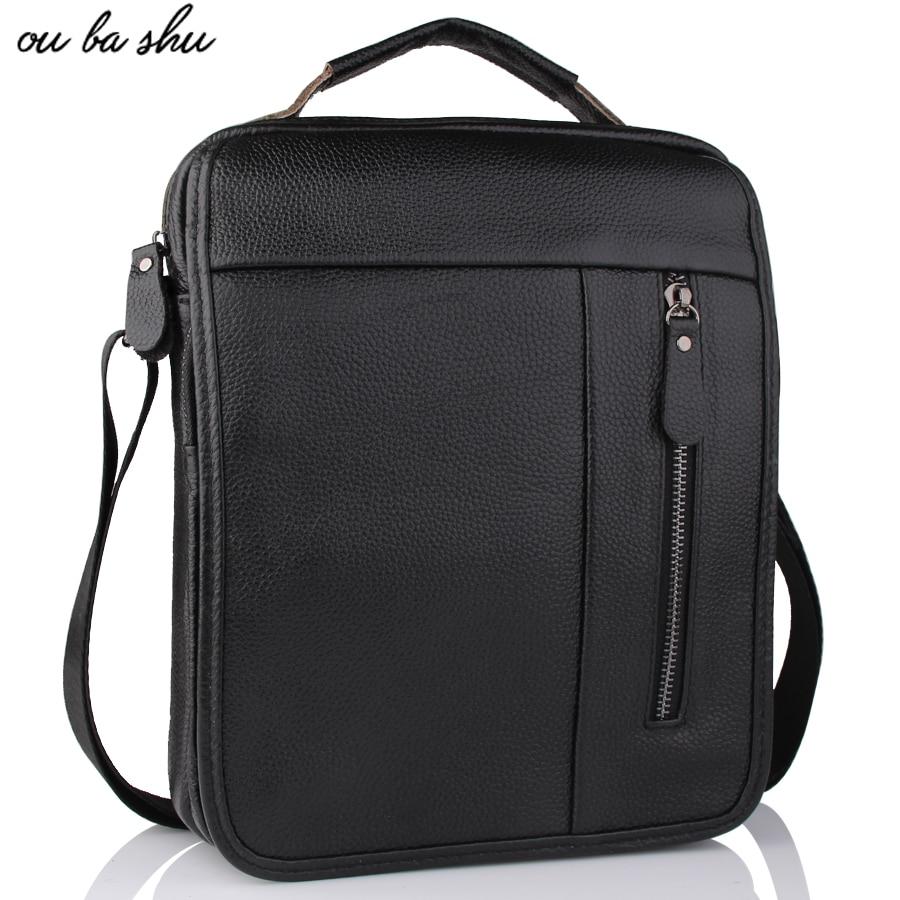 OU BA SHU Genuine Leather bag Men Bags Fashion Male Messenger Bag Mens Briefcase Man Casual Crossbody bags Shoulder Handbag<br>