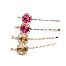1 Pair Korean Fashion New Hair Accessories Pink Crystal Hair Barrette Gold Color Rhinestone Hair Clip For Women Jewelry Hairwear(China)
