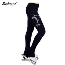 Customized Ice skating long pants Figure Skating fleece Trousers Adult Child Girl Competition Performance Skater Rhinestone
