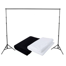 Top Deals Black White Muslin Cotton Backdrop Pro Photo Studio Background Support Stand Kit