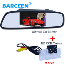 "Suitable for Nissan Altima/TEANA /Sylphy car rearview camera wire hd ccd image +8 led with universal 4.3"" car screen mirror"