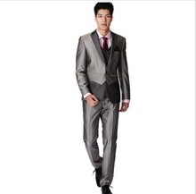 customize trendy fashion men's formal suits gentleman wedding garment groomsman Business suit three-piece suit(jacket+pants+vest