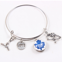 Love Hockey Bangles 18mm American Hockey Toronto Maple Leafs Team Fans Snap Alloy Bangles 6Pcs
