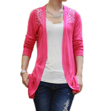 Knitted Lace Cardigan Crochet Women Sweaters Sexy Blusas Feminino Casual Long Cardigans Spring Summer Body Top Lady Femme