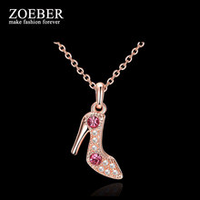 Zoeber Sexy High Heels Crystal Choker Necklace Plated Rose Gold Heeled Shoes Necklace Women fashion Lady Jewelry collier(China)