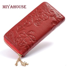Miyahouse Fashion Genuine Leather Women Long Purse Flower Embossing Female Zipper Wallet Money Clips Woman Cards Purse(China)