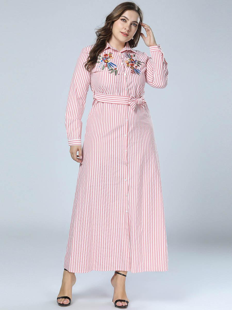 944d345feb TUHAO Women s Clothing Factory Embroidered Denim Dresses Shirt Dress Plus  Size 4XL 3XL Long Sleeve Elegant Maxi Long Dresses ZZL. RM16779234635455075