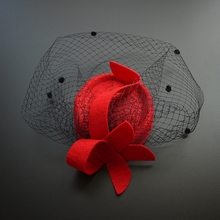 Classic Black Red Fabric Hat Autumn Top Fedora Hat Veil Banquet Dinner Evening Party ladies Fancy Hat Hair Clip Accessories