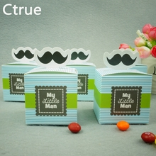 "20pcs ""My Little Man"" Mustache Blue Green Birthday boy baby shower Candy Box Gift Packaging Chocolate Boxes Baby Shower Favors(China)"