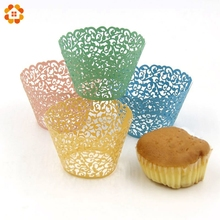 50PCS/Lot Little Vine Lace Laser Cut Cupcake Wrapper Liner Baking Cup For Home Wedding / Birthday / Christmas Party Decoration(China)