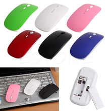 2.4GHz Wireless Ultra Thin Optical Scroll Mouse/Mice +USB Receiver For PC Laptop High Quality Wholesale