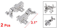 "Silver Tone Hydraulic Full Overlay Concealed Hinge 3.1"" Long 2 Pcs(China)"