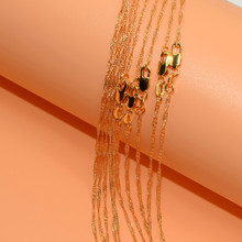 10pcs Wholesale  Gold Filled Necklace Fashion Jewelry Water Wave Link Chain 2mm Necklace 16-30 Inches Pendant Chain