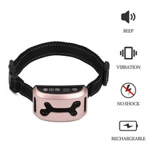 Waterproof Pet Dog Rechargeable Anti Bark Collar Adjustable 7 Sensitivity Levels Vibration Stop Barking Dog Training Collars(China)