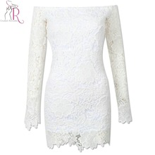 Women Vintage Lace Dress White Sexy Off Shoulder Cut Out Back Elegant Crochet Mini Bodycon Dresses 2017 New Spring Clothing(China)