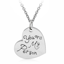 "2017 Fashion Jewelry Pendant Necklace ""You Are My Person"" Family Love Personalized Heart Classical Necklace For Featival's Gift"
