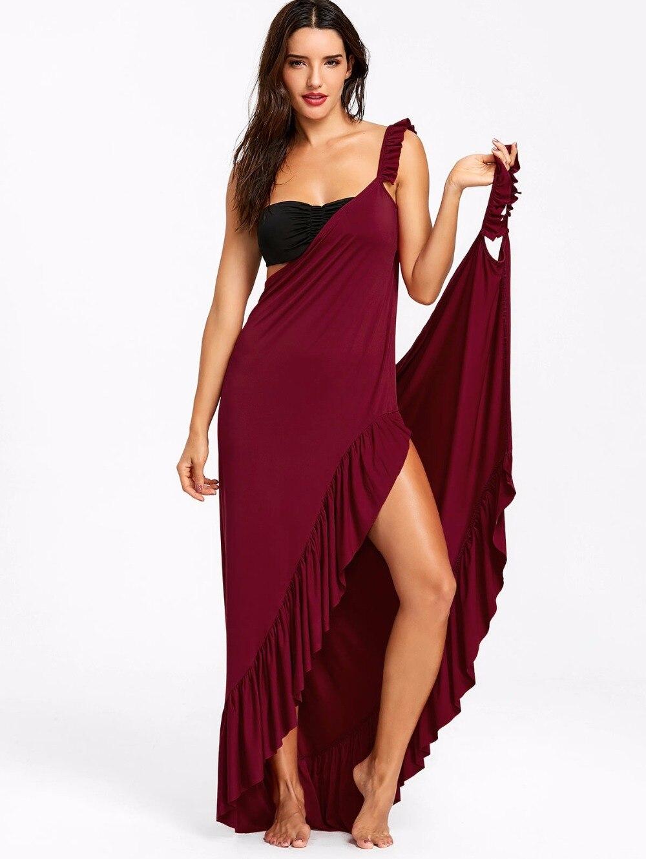 VESTLINDA Beach Dress 2018 Summer Long Flounce Wrap Dress Women Spaghetti Strap Maxi Dresses Robe Femme Sexy Vestidos De Festa 6