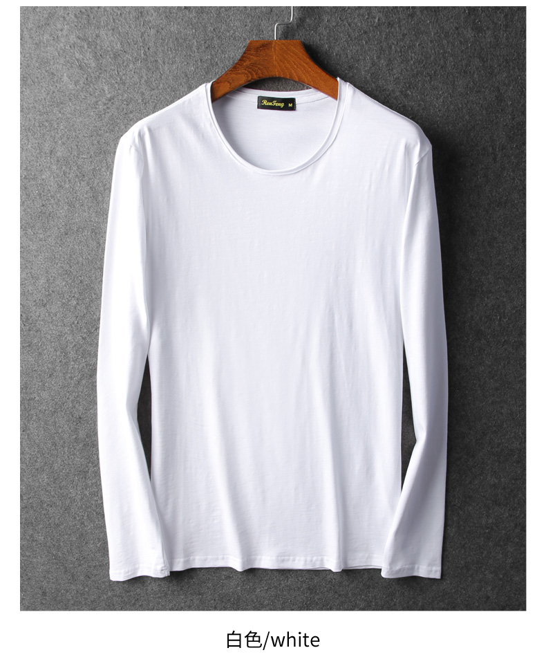 Bamboo cotton men's long sleeve t-shirt msn All Match O Neck Casual T-Shirts Base Tees spring autumn Korean bottoming shirt men (6)