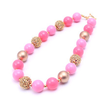 MHS.SUN Pink character kids/grils/child gumball acrylic beads necklace 2pcs/lot Handmade super fun chunky necklace Free shipping(China)