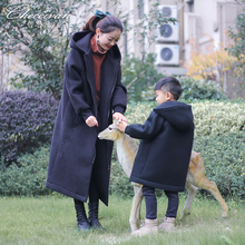 Exquisite parent-child winter coat mother and son family fashion woolen outerwear long design with a hood plus velvet overcoat(China)