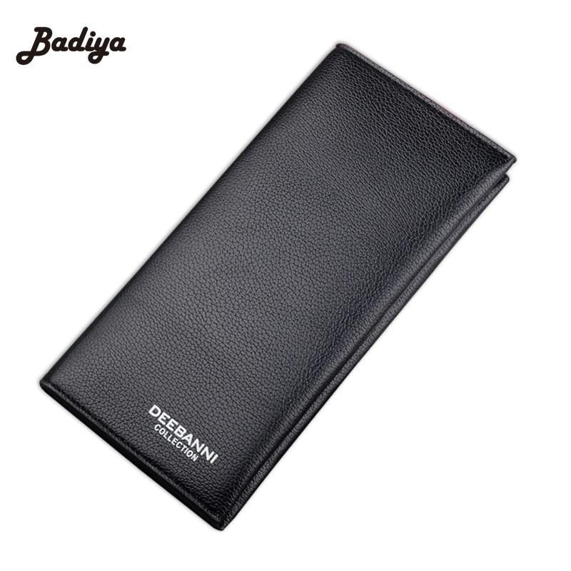 New Leather Mens Wallet Long Design Multifunctional Men Purse Black Billfold Card Holders For Men Solid Pocket Cow Leather<br><br>Aliexpress