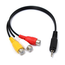 New 2.5mm Male to 3RCA Female Jack Audio Video AV Adaptor Cable Extension Lead 20cm(China)