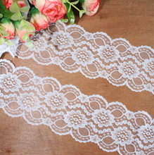 Width 75mm 8 yards Natural white Embroidered Net Lace Trim fabric Garment ribbon headband wedding decoration gift DIY Accessorie