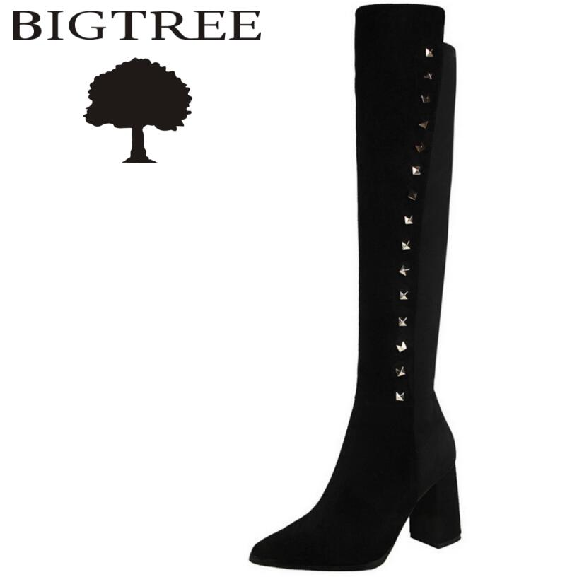 Bigtree 2017 New Autumn Winter Rivet Women Over -the-knee Boots Sexy Suede Slim Women Motorcycle Boots Thigh High Shoes Woman<br>