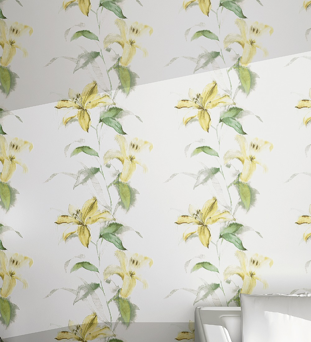Spring Green Yellow Florals lily Mural Wallpaper Roll PVC<br>