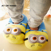 Despicable Me Minions Indoor Slippers Plush Stuffed Funny Slippers Flock Cosplay House Shoes Adult Winter Home Slipper(China)