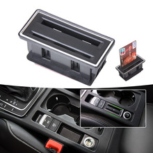 DWCX New Black Plastic Center Console Card Holder Slot for VW Golf MK7 VII 2012 2013 2014 2015 Wholesale Price(China)