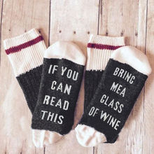 14 Styles humor words printed socks If You can read this Bring Me a Glass of Wine Cotton casual socks unisex socks free shipping(China)