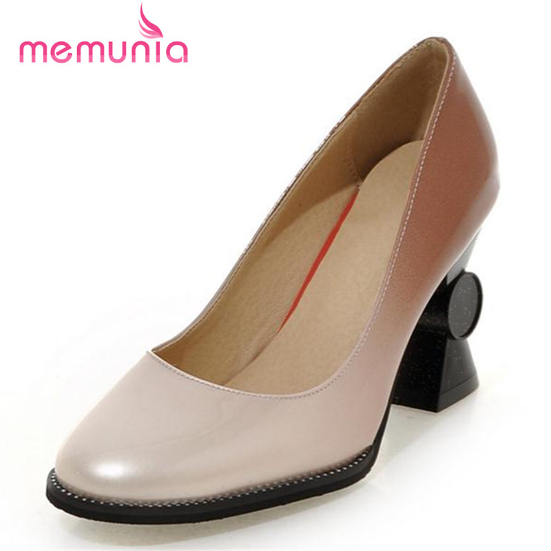 MEMUNIA Contracted fashion high heels shoes strange style women pumps big size 33-44 work shoes square toe soft leather <br><br>Aliexpress