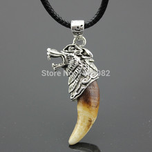 Cool Boy Men's Tibetan Amulet Fangs Real Natural Tooth Vintage Silver Wolf Tooth Charm Pendant Necklace Gift YN281