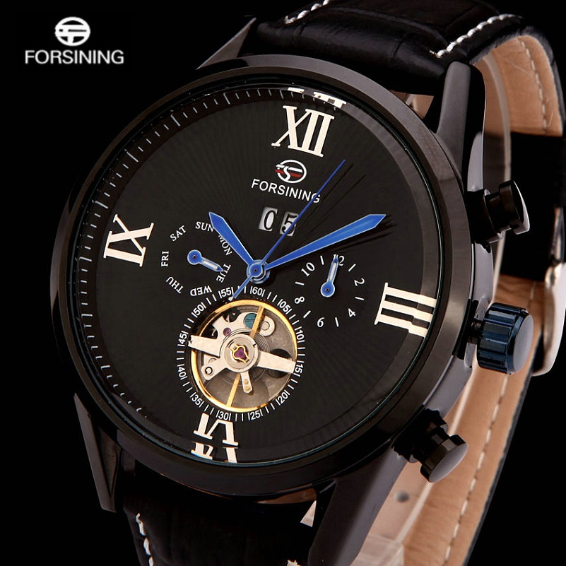 FORSINING Luxury Mens Automatic Watches Business Men Tourbillon Mechanilcal Wristwatches Complete Calendar Relogios Masculinos<br>
