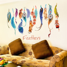 [SHIJUEHEZI] Removable Feather Wall Stickers Colorful Plumage Korean Dreamcatcher Decals for Living Room Kids Rooms Decoration