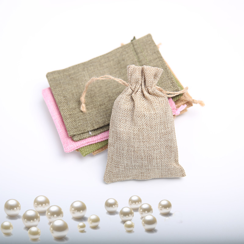 10 * 15Cm imitation linen drawstring bag jewelry wedding gift storage bag linen pocket wholesale 100Pcs