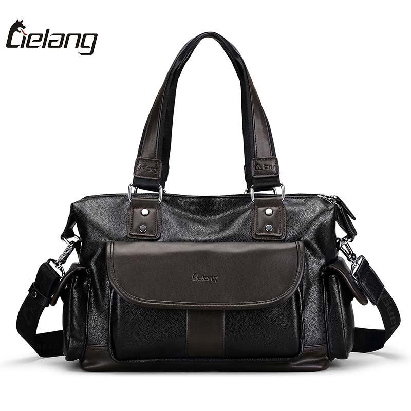 LIELANG Brand New Mens Handbags Leather 14 Inch Laptop Briefcase Business Casual Travel Shoulder Bags Messenger Bag for Men<br>