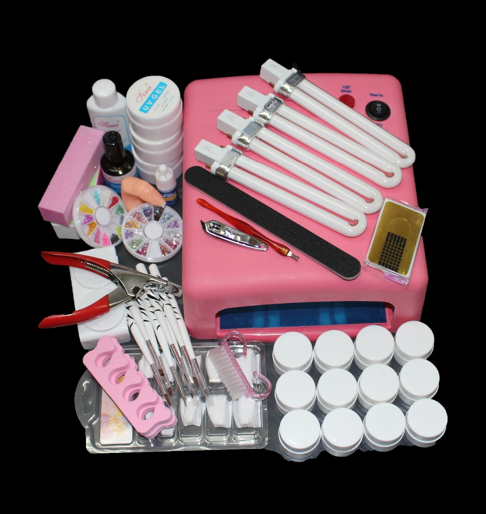 Nail Art Tool Full 12 Color UV Gel Kit Brush nail Dryer Nail Art Set + 36W Curing UV Lamp Kit Dryer Curining Tools Set for nail<br>