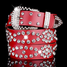 Buy Ladies Rhinestone Studded Leather Belt Women Crystal Cowskin Belts Genuine Real Leather Skin Straps Female Belt Strap Brand for $17.44 in AliExpress store