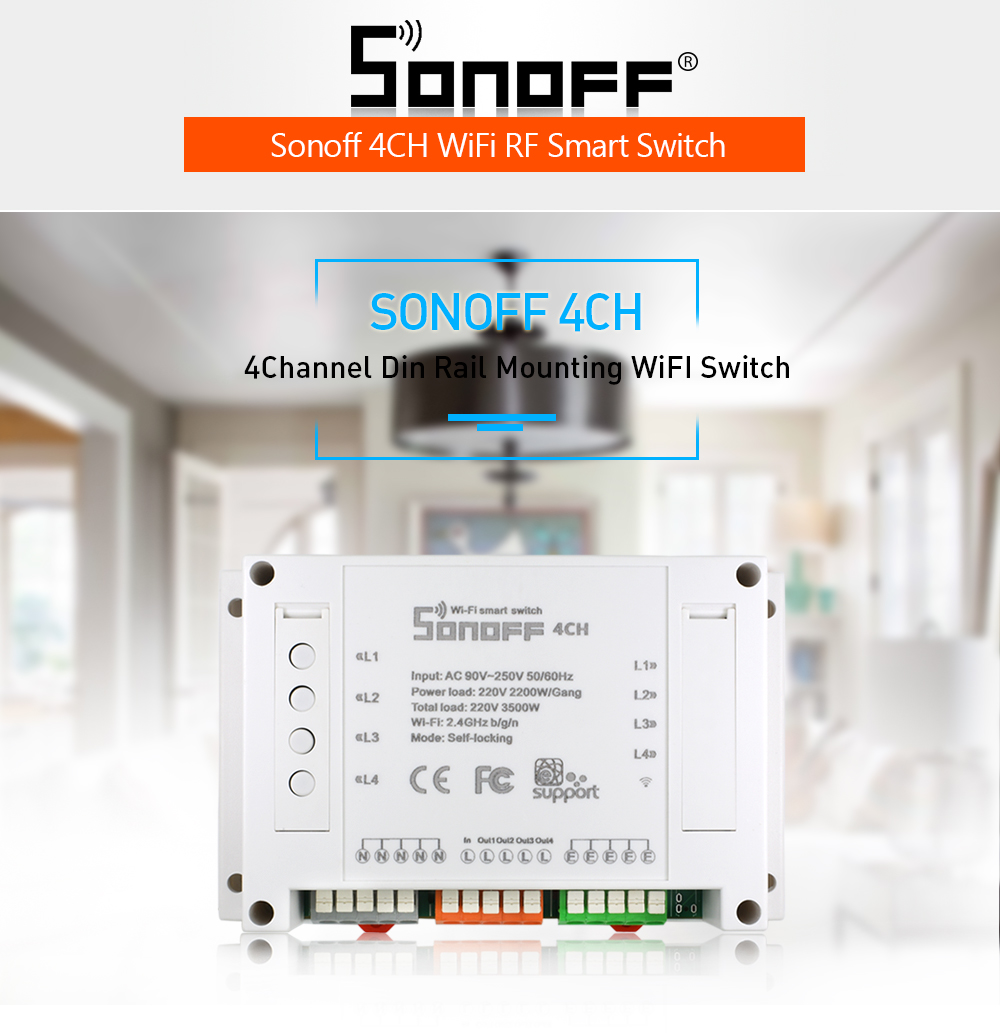 Itead Sonoff 4ch Din Rail Mount On Off Wifi Wireless Switch Remote Pcb Circuit Board Mounting Bracket For Fst Control Smart Home