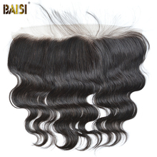 BAISI Body Wave Peruvian Virgin Hair Lace Frontal Size 13*4,PrePlucked Natural Hairline Bleached Knots With Baby Hair 10-18inch