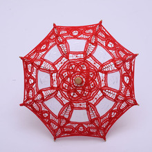 QUNYINGXIU 19cm Girls Hollow Craft Flower Lace Long Hand Umbrella Embroidery Princess Decoration Classical Red Umbrella Wedding(China)