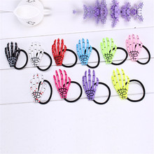 Hallowmas Gift Gothic Punk Zombie Skeleton Hand 4Pc Girl Elastic Hair Bands Skull Accessories Horror Barrette Accessory Hairband