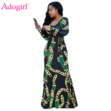 Adogirl Trendy Gold Chain Print Long Sleeve Maxi Dress Plus Size S-3XL Boydcon Robe Long Party Gown High Quality Women Clothing(China)