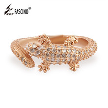Rose Gold Color Cubic Zirconia Lizard Rings Copper Band Personalized Exaggerated Rings Men Jewelry Anillos (R1504277)(China)