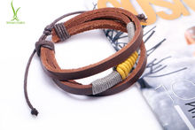 Alibaba Express Fashion Wrap Hemp Rope Leather Braided Rope Bracelet Black and Brown for Men Fashion Man Jewelry PI0256(China)