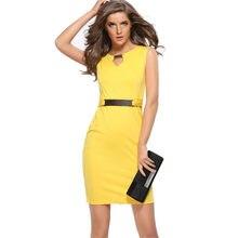 Yellow Dress Bodycon Temperament Pencil Summer Vestido Dress Elegant Women  Sexy Sleeveless Solid Color New Dresses Casual Oodji 2abcc3964c46